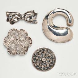Four Mexican Silver Brooches, Los Castillo, Los Ballesteros, Margot de Taxco