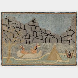 Pictorial Hooked Rug with Native Americans and the Old Man of the Mountain