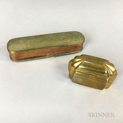 Engraved Brass Tobacco Box and a Snuffbox