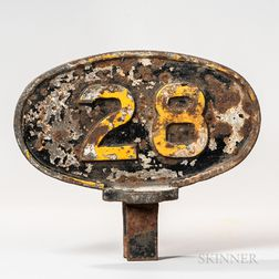 Two-sided Painted Cast Iron Railroad Mile 28 Marker