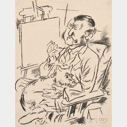 George Grosz (German, 1893-1959)      Selbstbildnis mit Hund vor der Staffelei
