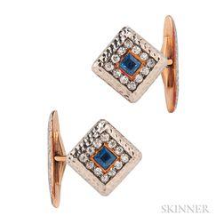 Sapphire and Diamond Cuff Links