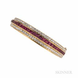 18kt Gold, Ruby, and Diamond Bracelet
