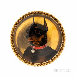 Antique 18kt Gold and Reverse-painted Crystal Miniature Pinscher Brooch