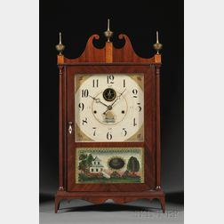 Seth Thomas Off-Center Mahogany Pillar and Scroll Shelf Clock