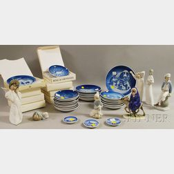 Seven Collectible Ceramic Figures and Thirty-two Porcelain Collector Plaques