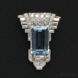 Platinum, Aquamarine, and Diamond Clip Brooch, Cartier