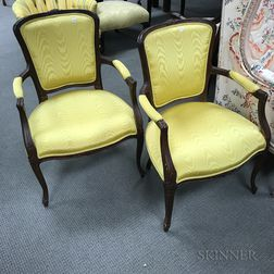Pair Louis XV-style Upholstered Fauteuils