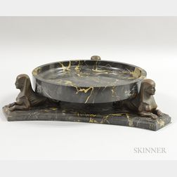 Egyptian Revival Onyx and Bronze Compote