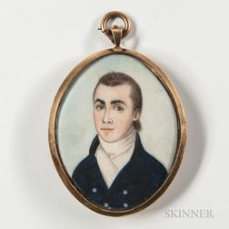 Attributed to Charles F. Berger (act. Philadelphia, Mid-19th Century)      Miniature Portrait of a Gentleman in a Blue Jacket