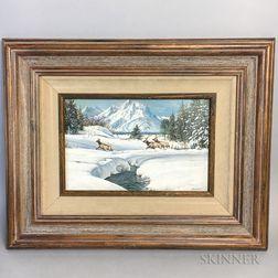 Bob Wygant (American, 1927-2008)    Elk in Winter