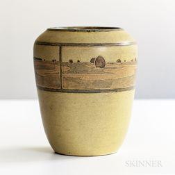 Rare Annie E. Aldrich and Sarah Tutt Marblehead Pottery Vase