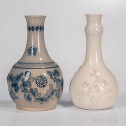 Two Staffordshire White Salt-glazed Stoneware Vases