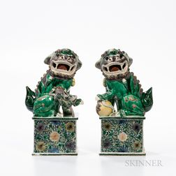 Pair of Famille Verte Foo Dogs