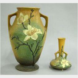 Two Roseville Pottery Magnolia Vases