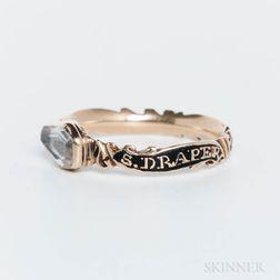 Samuel Draper Gold and Enamel Mourning Ring