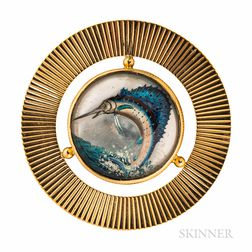14kt Gold and Reverse-painted Crystal Sailfish Brooch
