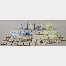 Thirty-two Assorted Decorated Pottery Tiles