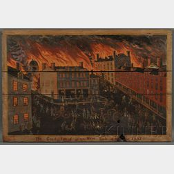 American School, 19th Century      The Great Fire of Utica New York of the Year 1837.