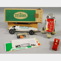 """Coca-Cola Battery-op Remote Control Star Wars R2D2-style """"Cobot"""" and a 1970   Testors/Sprite Plastic Battery-op Race Car"""