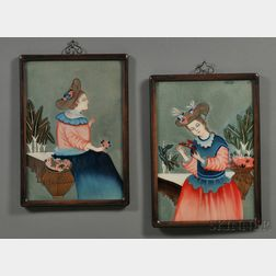 Chinese Export School, Late 19th Century      Pair of Paintings of Western-garbed Women Wearing Straw Hats.