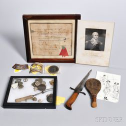 Framed 1781 Continental Pay Voucher, Silver Shoe Buckle, and Other Artifacts