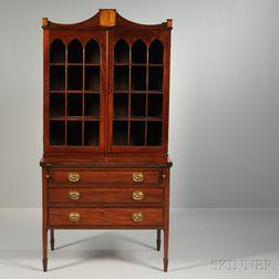 Inlaid and Glazed Mahogany Desk/Bookcase