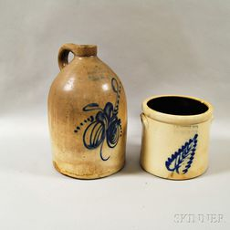Two Norton Cobalt-decorated Stoneware