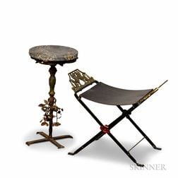 Wrought Iron Campaign-style Chair and a Plant Stand.