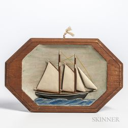 Small Carved and Painted Diorama of the Ship Eleonor