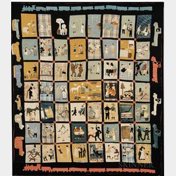 """Pieced and Applique Folk Art Quilt """"Scenes of American Life,"""""""