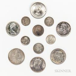 Twelve Silver World Coins