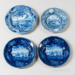 Four Staffordshire Historical Blue Transfer-decorated Plates