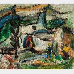 Aurel Diaconescu (Romanian, 1909-1991)      Landscape with House and Two Figures