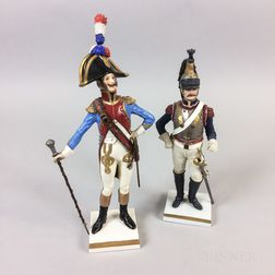 Pair of Porcelain Napoleonic Military Officers