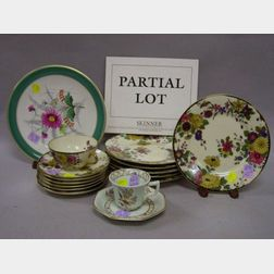 Set of Eight Calyx Ware Cups and Saucers, a Set of Eight Handpainted Floral Decorated Paris Porcelain Plates, and an Eighteen-Piece Bav