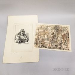 Alfred Kubin (Austrian, 1877-1959)      Two Works on Paper:   Seemann