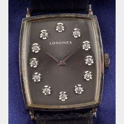 Gentleman's 14kt White Gold and Diamond Wristwatch, Longines