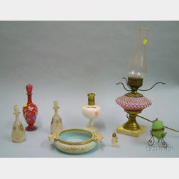 Wave Crest Gilt-metal Mounted Enamel Decorated Glass Bowl, Six Glass Scent Bottles, and a Hobnail Glass Table L...