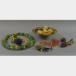 Italian Faience Fruit Bowl, a Della Robbia Style Wreath, and a Group of Decorative   Fruit