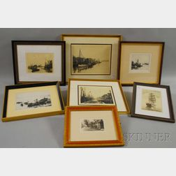 Six Framed Leonard H. Mersky Cape Cod and Islands Etchings and a Framed   John Sunshine Print Depicting the Sailing Ship Morgan.