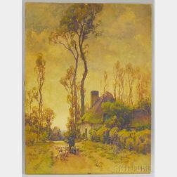 Hezekiah Anthony Dyer (American, 1872-1943)      Man with Sheep Walking Down a Country Lane