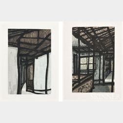 Four Modern Woodblock Prints and a Print on Batik
