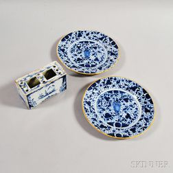 Delft Flowerpot and a Pair of Plates