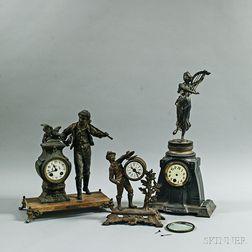 Three French Spelter Figural Mantel Clocks