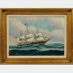 Antonio Nicolo Gasparo Jacobsen (New York/New Jersey/Denmark, 1850-1921)      The Blackball Liner Columbia