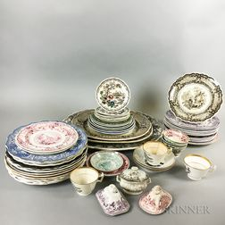 Approximately Fifty-five Transfer-decorated Plates, Platters, and Teacups.     Estimate $200-300