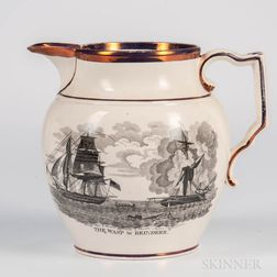 Pink Lustre Decorated Commemorative Anglo-American War Jug