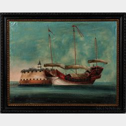 Chinese School, 19th century      A Junk Anchored off the Dutch Folly Fort, Canton