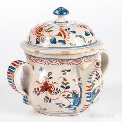 English Delft Posset Pot and Cover